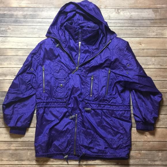 Vintage Jackets & Blazers - VINTAGE PURPLE WATER RESISTANT SKI WINDBREAKER